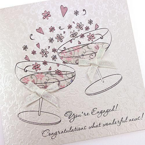 Beautiful Handmade Engagement Card Engaged Congratulations Champagne Glasses