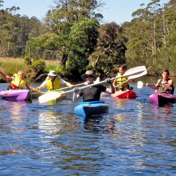 Paddling on the Leven River from Ulverstone River Retreat.