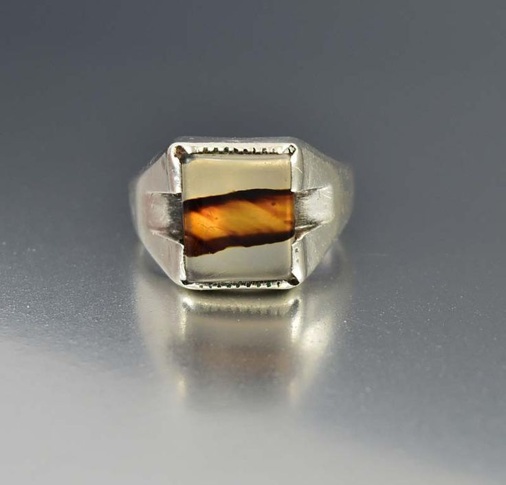 Sterling Silver Art Deco Signet Dendritic Agate Ring  #Agate #Silver #Ring #Deco #Wide #Art #1920s #Sterling #18K #Leach