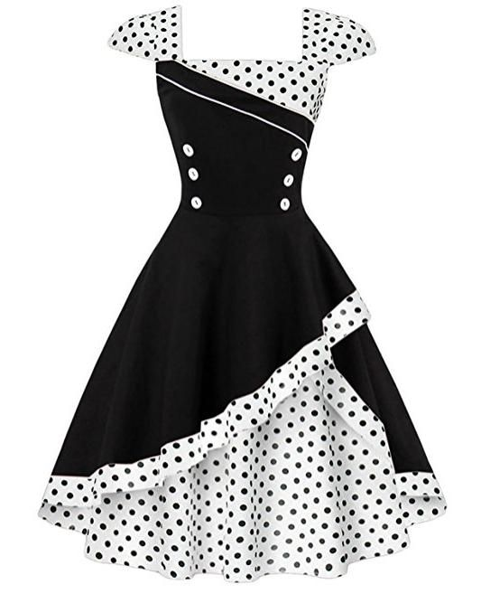 f097a0f98ae ZAFUL Robe Vintage années 50 Style Rockabilly Swing Pin Up Sans Manches Robe  Rétro Robe de Soirée Grande Taille Cocktaile Col Carré