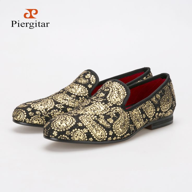 sale Men's loafers 2016 new exquisite gilt embossed flats black and gold shoes…