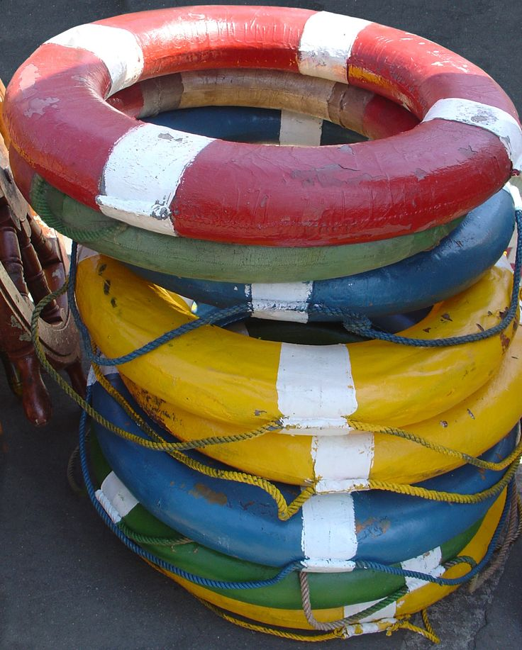 Nautical life preservers from the Rose Bowl Flea Market. photo by Lisa Hackenberg