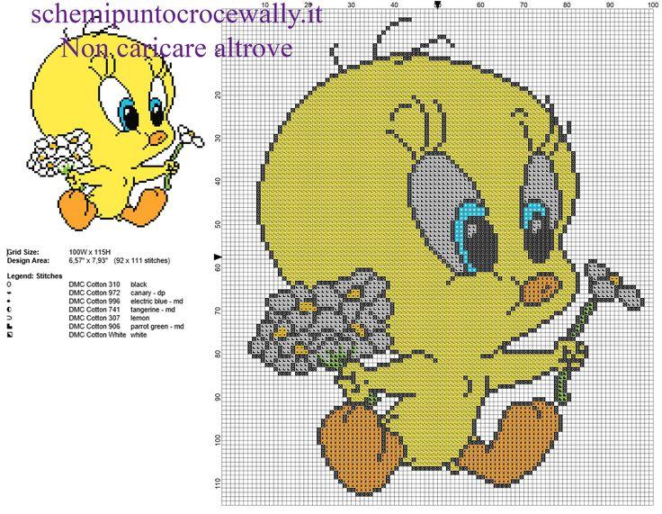 Baby titti con fiori margherite schema punto croce gratis for Disney punto croce schemi gratis