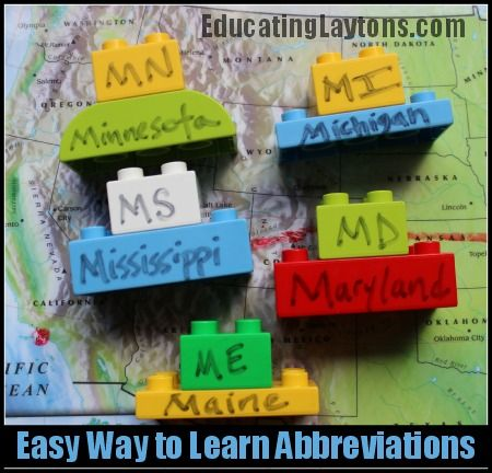 Easy Way to Learn State Abbreviations - from Educating Laytons - (Add another Lego with State Capital)