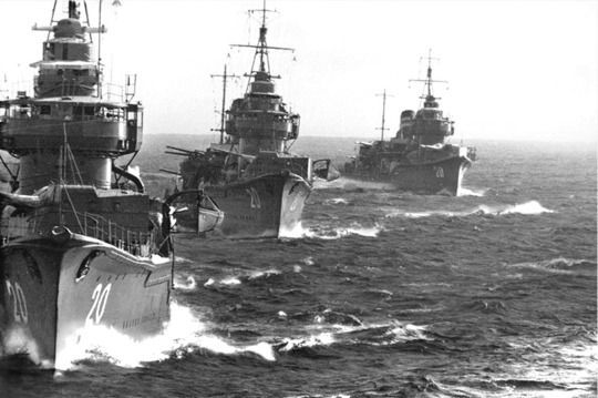 Japanese destroyers (Fubuki class-II) before the start of military action against the allies in the Pacific in 1941. 8.16 New #5A (B&W)