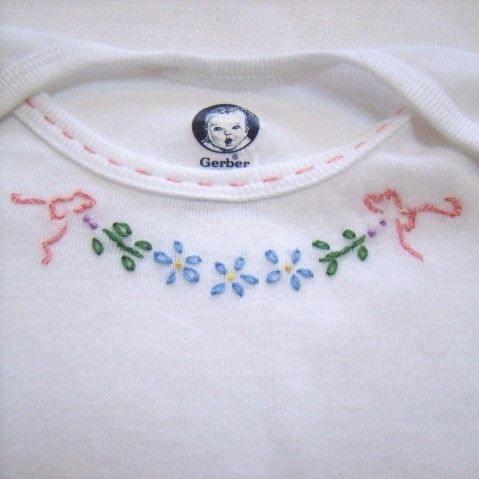 Ribbons And Flowers For Baby - Hand Embroidered Onesie, Tee Shirt or Bodysuit (made to order any size). $15.00, via Etsy.