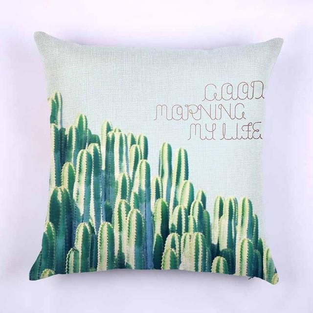 Pillow Cover Africa Tropical Plant Cushion Case Cotton Linen Cactus Love Square 45x45cm for Home Seat Chair Office Living Room
