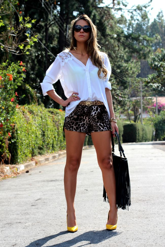 #fashion #fashionista Vanessa bianco fantasia Look com shorts | Decor e Salto Alto LOVE THE SHORTS!