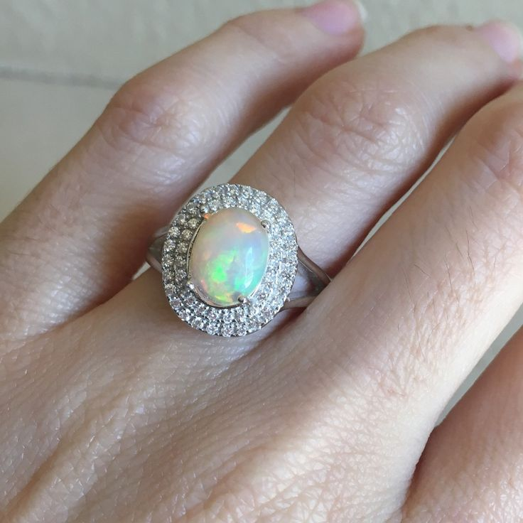 Halo Opal Engagement Ring Oval Opal Promise Ring Genuine Natural Opal Ring