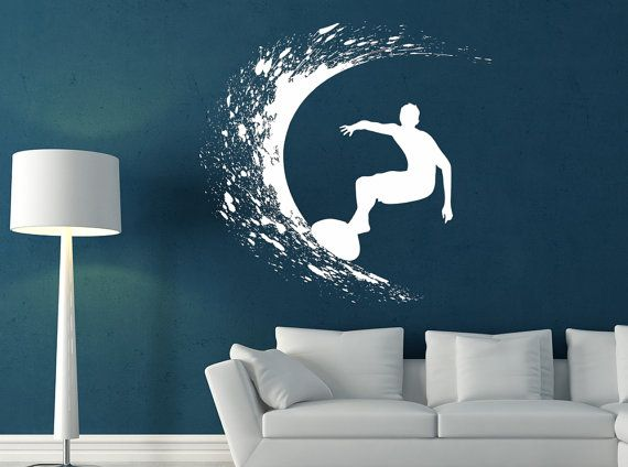 Surfer Decal Sticker Vinyl Wall Home Kids Room by VinylMyWalls, $21.95 love the idea of the blue wall and white decal sticker