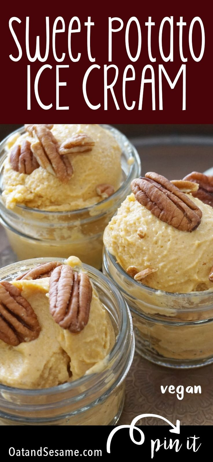 Sweet Potato Ice Cream - it's just like pie and dairy free! Try it with purple sweet potatoes for a purple ice cream! | #VEGAN | #HEALTHY #DESSERTS | #Recipes at OatandSesame.com