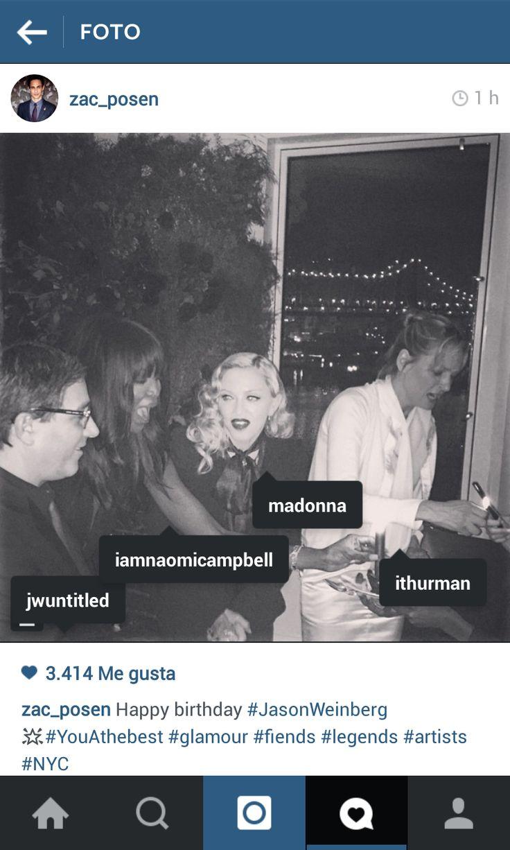 Madonna, Naomi Campbell,  Uma Thurman & unknown dude.