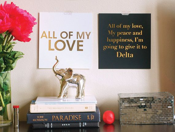 Delta Sigma Theta All of My Love Gold Foil Print by PinkGreyNYC