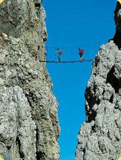 The bridge on Via Ferrata Brigata Tridentina