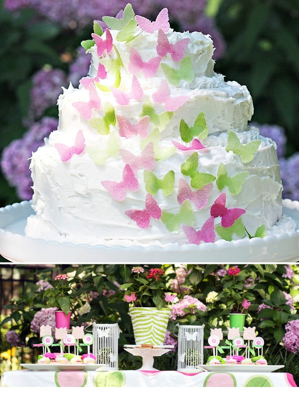 pink and green butterfly cake