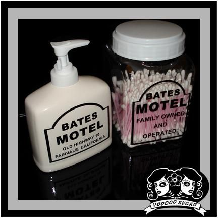 """""""Bates Motel"""" Soap Dispenser and Q-Tip Holder by Voodoo Sugar - I love the idea of doing Bates Motel sample shampoo and conditioners as party favors!"""