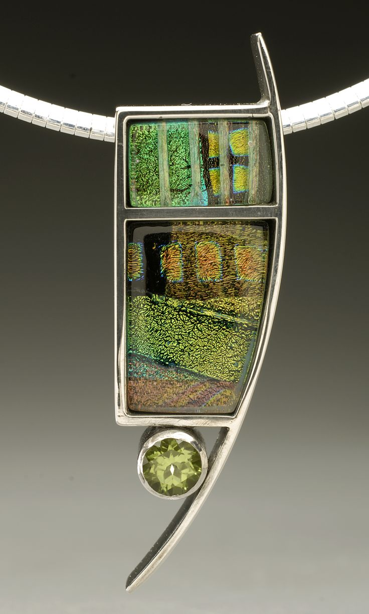 Sterling silver and dichroic glass pendant with peridot gemstone by Mark White