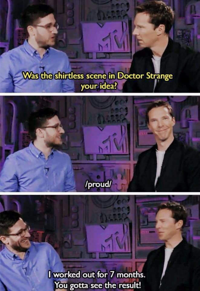 Yes there is a shirtless scene in Doctor Strange and it is tooooo short... ;)