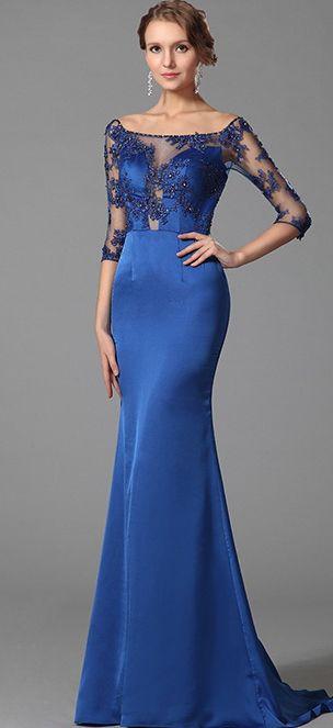 Elegant Blue Prom Dress