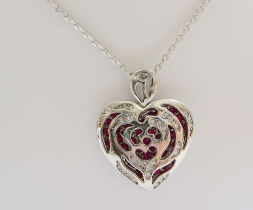 Cubic-Zirconia-Encrusted-Rose-Heart-Pendant-Necklace