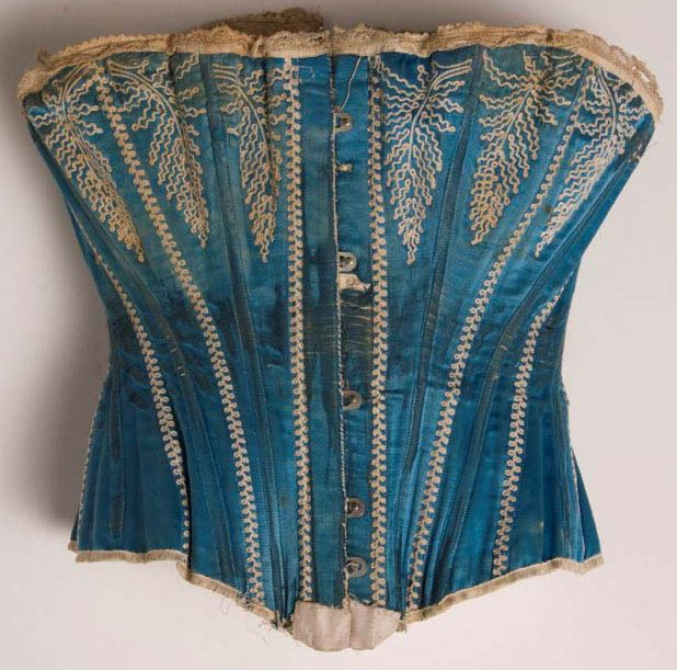 1890 corset.The stays/ bones are reinforce with a zig-zag stitch. So it must have been done on a sewing machine