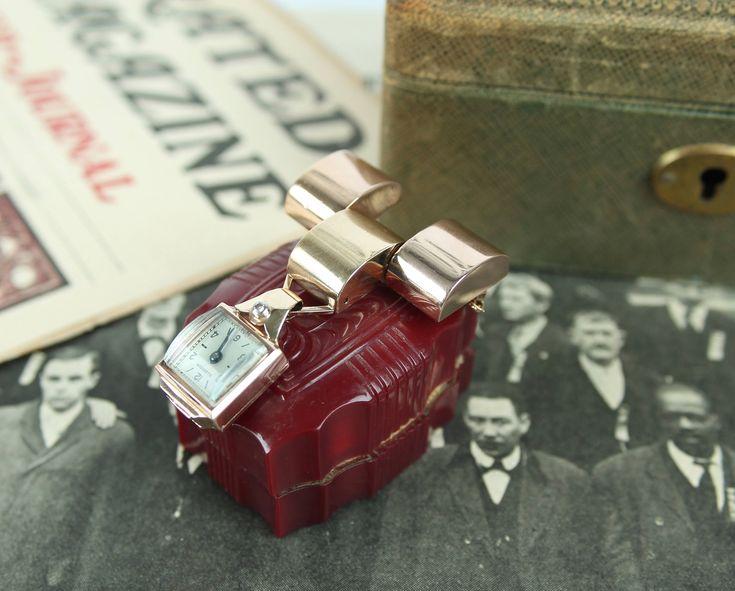 1930s 2 tone 14k rose gold + diamond watch pendant antique brooch pin 1940s art deco Ollendorf purse coat dress clip by mad4modvintage on Etsy