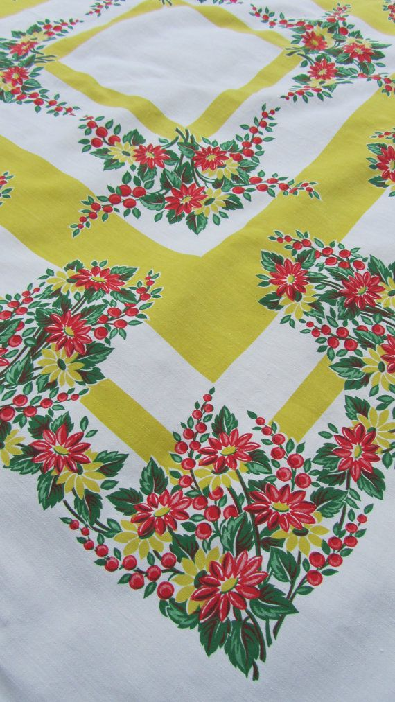 Vintage Marlene Linens Daisy Tablecloth Red Yellow Green   Green,  Tablecloths And Yellow