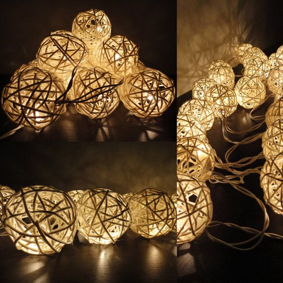 Battery Powered LED Bulbs 20 Natural White Handmade Rattan Balls Fairy String Lights Party Patio Wedding Floor Hanging Gift Home Decor 4m