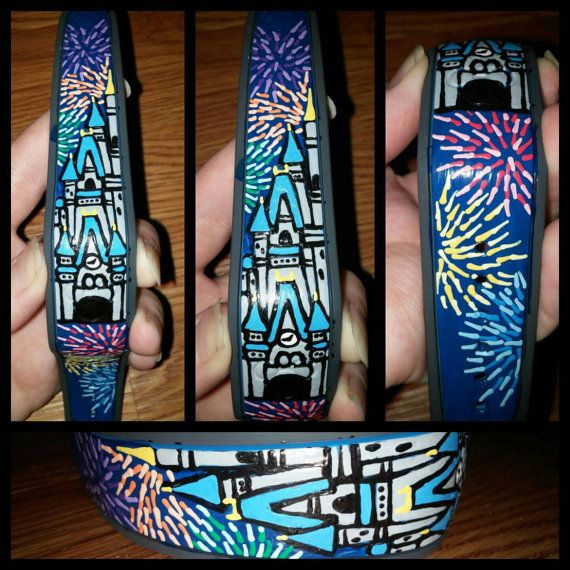 Castle Painted Disney Magic Band - 5 Beautiful Hand Painted Disney Magic Bands - WatchingFireflies