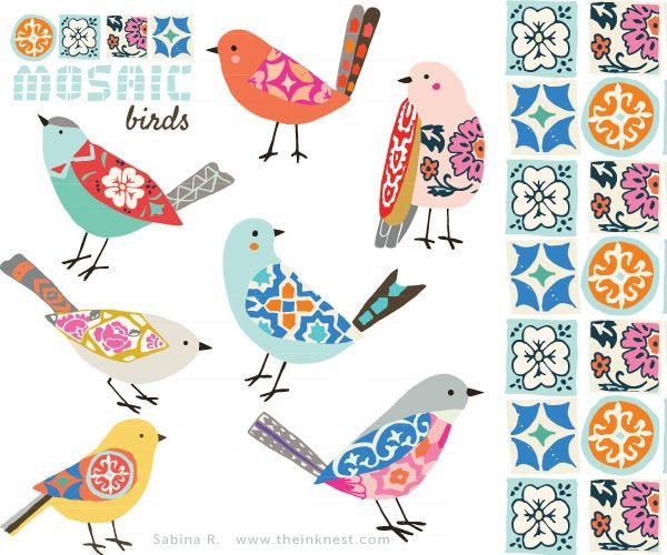 Folk Bird Clip Art Mosaic