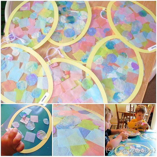 STAINED GLASS EGG: Wax Paper, Multicolored Tissue Paper, Pastel Construction Paper, Egg Template, Yarn, Glue, Scissors, Hole Punch, Tape