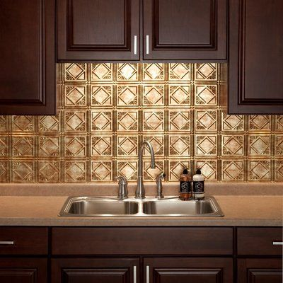 "Fasade Traditional 18.25"" x 24.25"" PVC Backsplash Panel Kit in Bermuda Bronze"