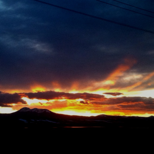 The sunset over the Colorado mountains.  Looked like the sky was on fire!