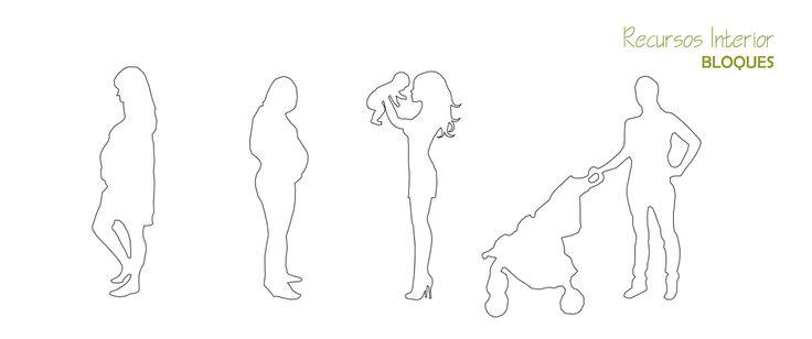 10 bloques gratis .dwg. Silueta de mujeres embarazadas y niños. Archivo 8 - Recursos Interior: Autocad, descargas .dwg, ideas, diseño, bloques 3D