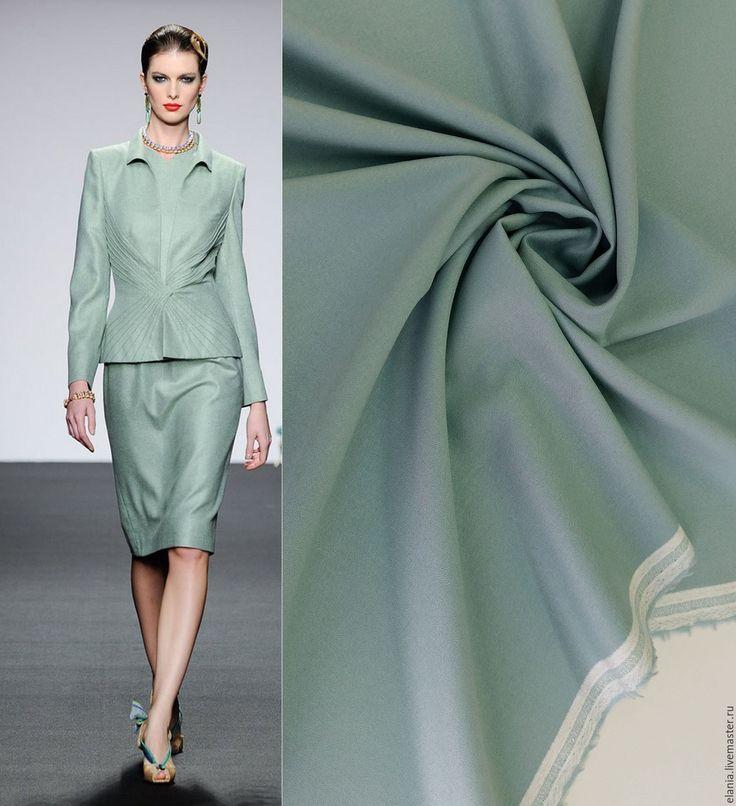 Купить Креповая костюмка серо-бирюзовая - ткань, ткани, ткань для шитья, ткань для одежды, италия