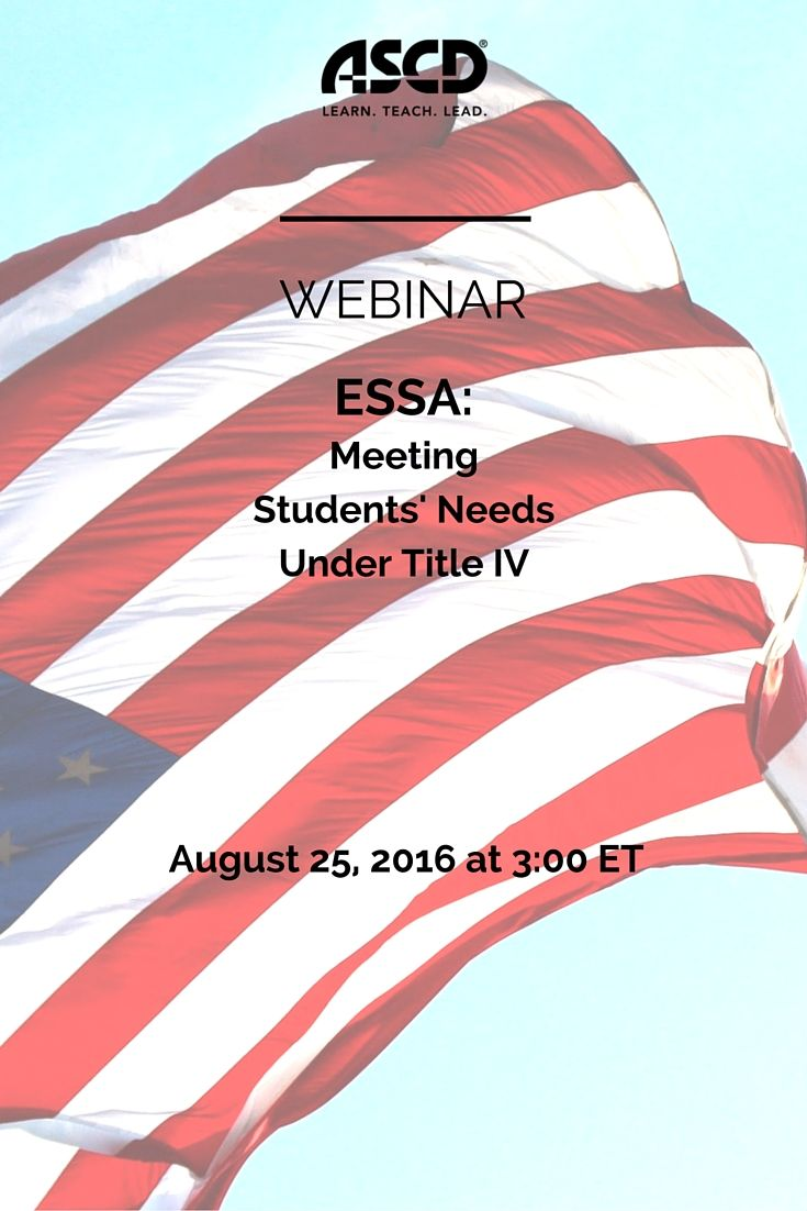 Join ASCD's Government Relations team in an engaging webinar around meeting students' well-rounded needs under ESSA. This discussion will provide information on how states are required to show how they are improving conditions for learning, including reducing bullying and harassment and addressing behavioral interventions that compromise student health and safety.