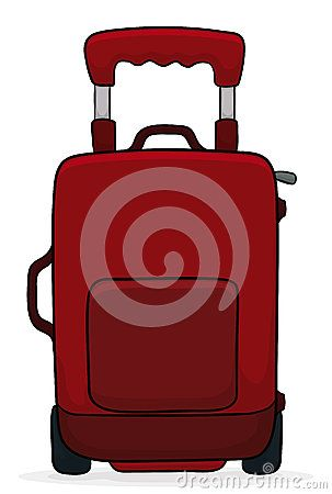 Big red suitcase ready to travel around the world  in white background.
