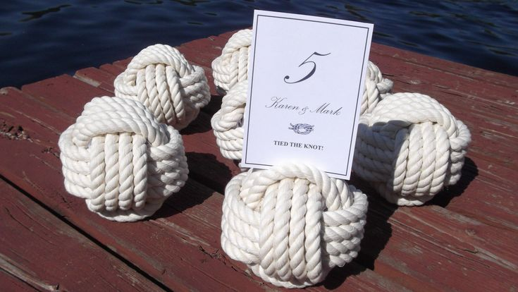 Set of 18 little wedding knots - Nautical Rope Table Number Holders. $144.00, via Etsy.