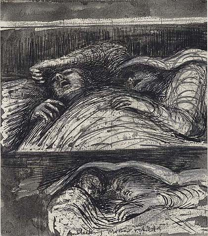 "Reading ""Second World War"" right now...Henry Moore, one of his London blitz drawings of people sheltering in the Tube."