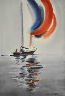 """""""A Breeze at Last"""" by Doug Lew. 20"""" x 14"""" Watercolor Original. A new-found breeze is just enough to billow the colorful spinnaker as the crew maneuvers the boat to get an edge on the competition. Info: http://www.spiritofsports.com/product/SLG-A-01492/A_Breeze_at_Last?referrer=gallery"""