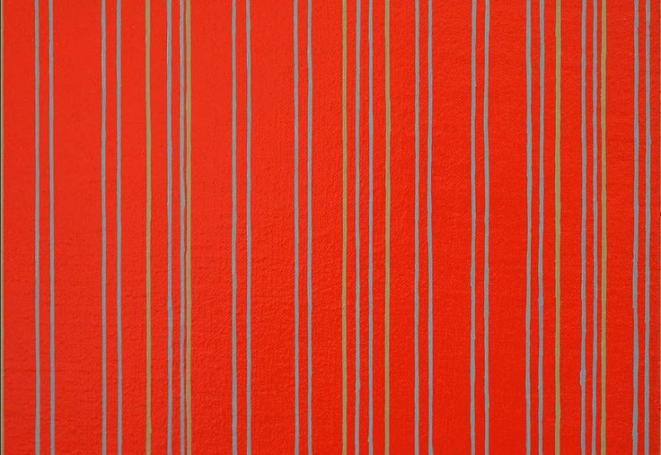 Sara Eichner, verticals on red receding in opposite directions 2015, oil on linen over panel, 30 x 60 inches