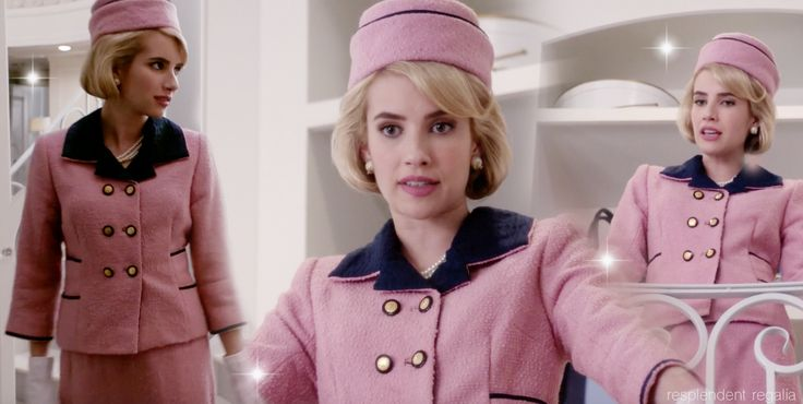 Chanel Oberlin (played by Emma Roberts) in Jackie Kennedy Halloween costume (from Scream Queens episode 4 - Pumpkin Patch)