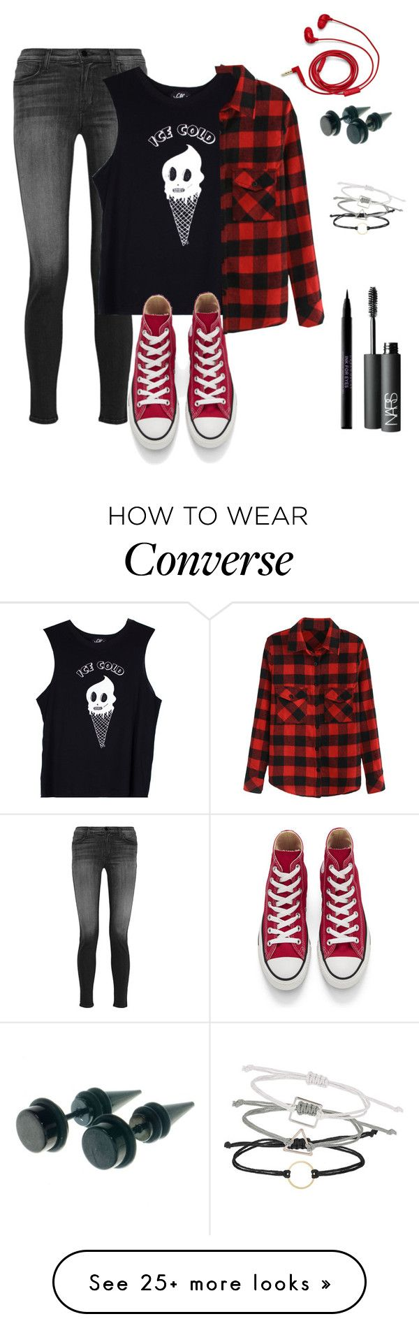 """""""Untitled #64"""" by fabulousarcher on Polyvore featuring J Brand, Valfré, Converse, Urban Decay, NARS Cosmetics, Topshop and FOSSIL"""