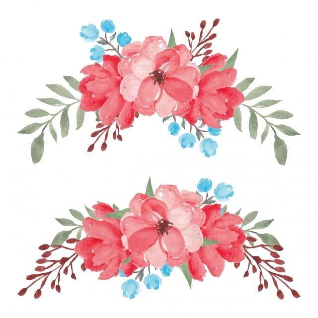 Recznie Malowany Zestaw Akwarela Czerwony Kwiatowy Bukiet Zabytkowe Kwiat Ilustracja Png I Wektor Do Pobrania Za Darmo Watercolor Red Floral Bouquets Hand Painted