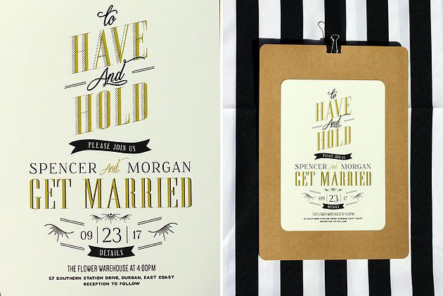Leo & Ness | Wedding + Event Stationery | 20's Inspired Wedding Invitation Gold and Black on Cream Card