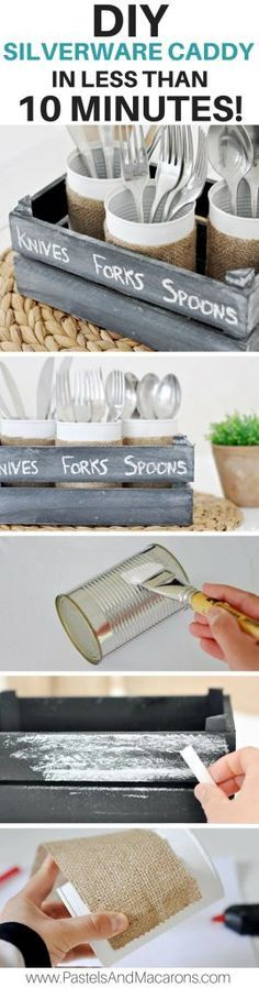 Make a DIY silverware Caddy using upcycled tin cans and burlap fabric. It's a fabulous kitchen organization idea as well as perfect for outdoor and indoor entertaining. A fun farmhouse craft made in minutes!