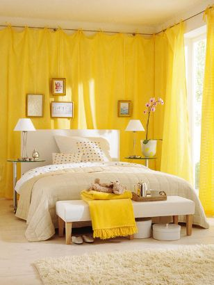 Use curtains instead of wallpaper. Make it seem bright and airy. Great for apartment living.