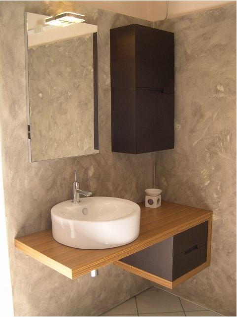 lavabo con troppopieno piano legno
