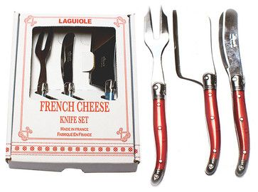 Laguiole French Cheese Knife Set, Red transitional-cheese-knives