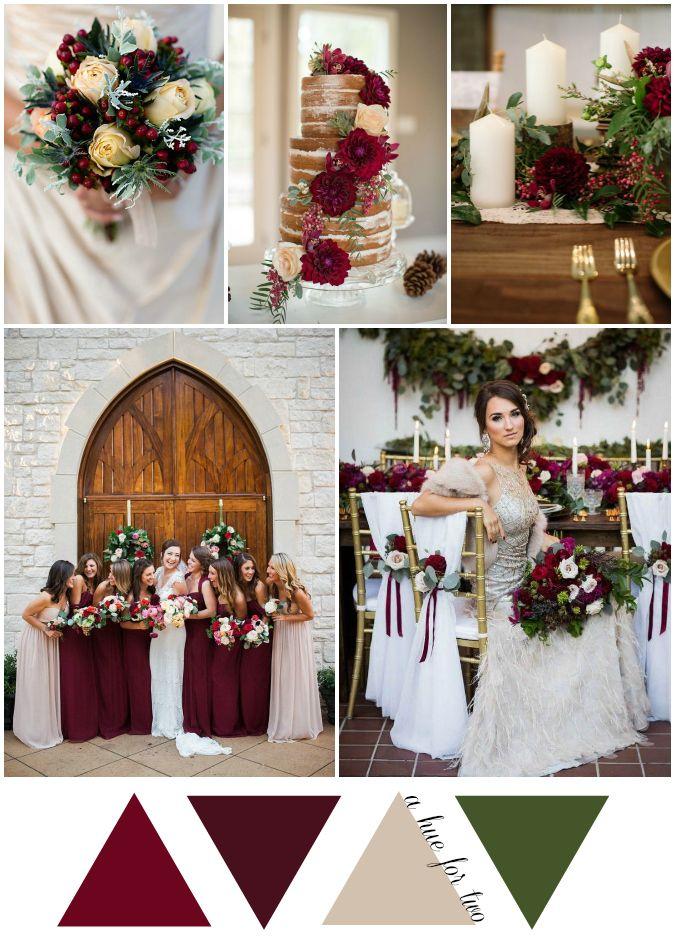 Elegant Cranberry and Champagne Christmas Wedding Colour Scheme - Wedding Blog - A Hue For Two | www.ahuefortwo.com